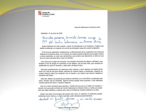 Salutación Presidente de JCYL, D. Alfonso Fernandez Mañueco al C. Salamanca