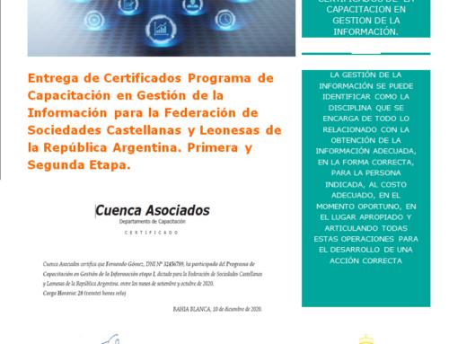 Entrega Certificados de Capacitación en Gestión de la Información