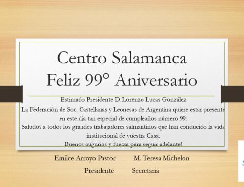 Centro Salamanca: Feliz 99° Aniversario!
