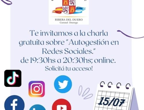 15 de julio 2021: Charla Autogestión en Redes Sociales