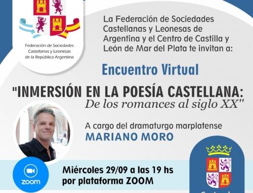 29 de Sept 2021: Inmersión en la Poesía castellana